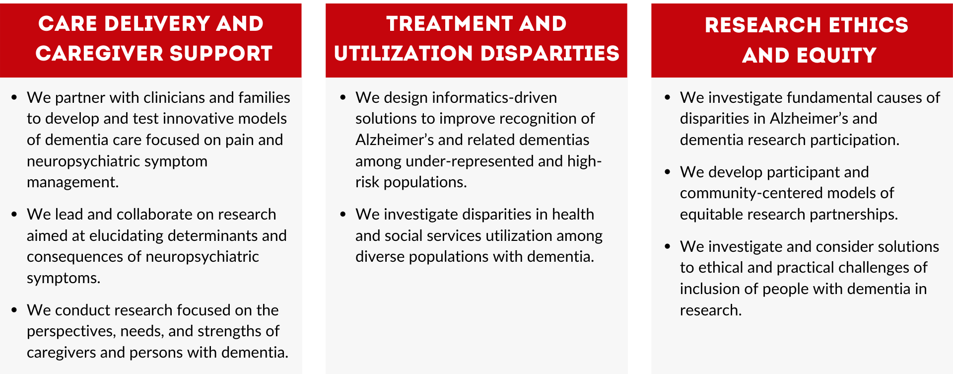 """1. Care Delivery and Caregiver Support We partner with clinicians and families to test innovative models of dementia-specific care delivery targeting neuropsychiatric symptom management. We lead and collaborate on research aimed at elucidating determinants and consequences of neuropsychiatric symptoms and clarifying mechanisms of action for non-pharmacologic interventions. We conduct research focused on the perspectives, needs, and strengths of family and friend caregivers for persons with dementia, and research that explicitly seeks and amplifies the perspectives of persons living with the disease. 2. Treatment and Utilization Disparities We investigate disparities in health and social services utilization among diverse populations with dementia, focusing on acute and post-acute illness care. We design informatics-driven solutions to improve recognition of Alzheimer's and related dementias among under-represented and high-risk populations. 3. Research Ethics and Equity We investigate fundamental mechanisms and determinants of disparities in Alzheimer's disease research participation in clinical and longitudinal cognitive aging research. We develop participant and community-centered models of equitable research partnerships to advance the field of applied recruitment science with the goal of accelerating progress toward more inclusive Alzheimer's disease research. We investigate and consider solutions to ethical and practical challenges of inclusion of people with cognitive impairment in research."""""""